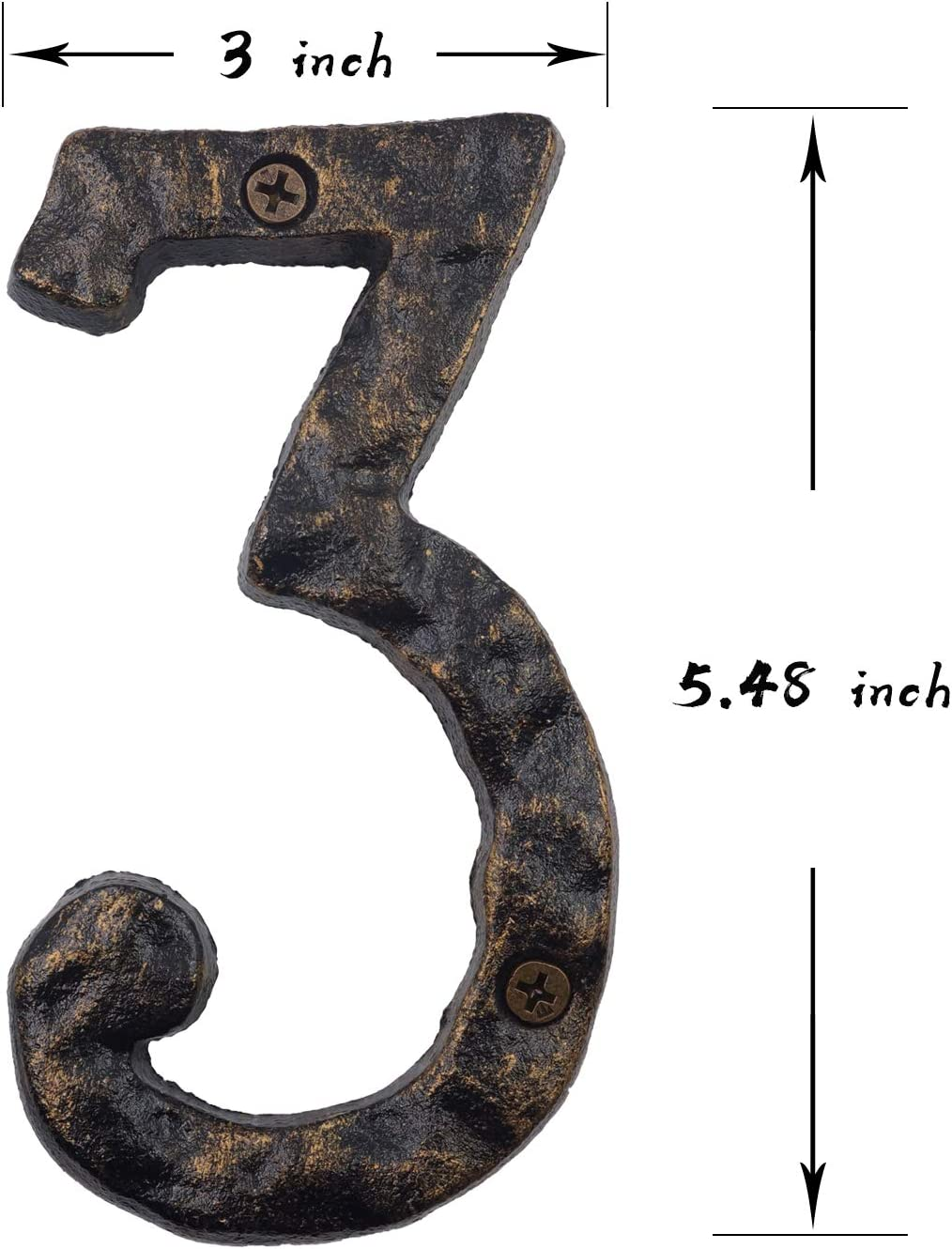 6 Inch House Numbers Number 0 Rustic Cast Iron Home Address Number Featuring Unique Hammered Appearance with Uneven Antique Brass Finished