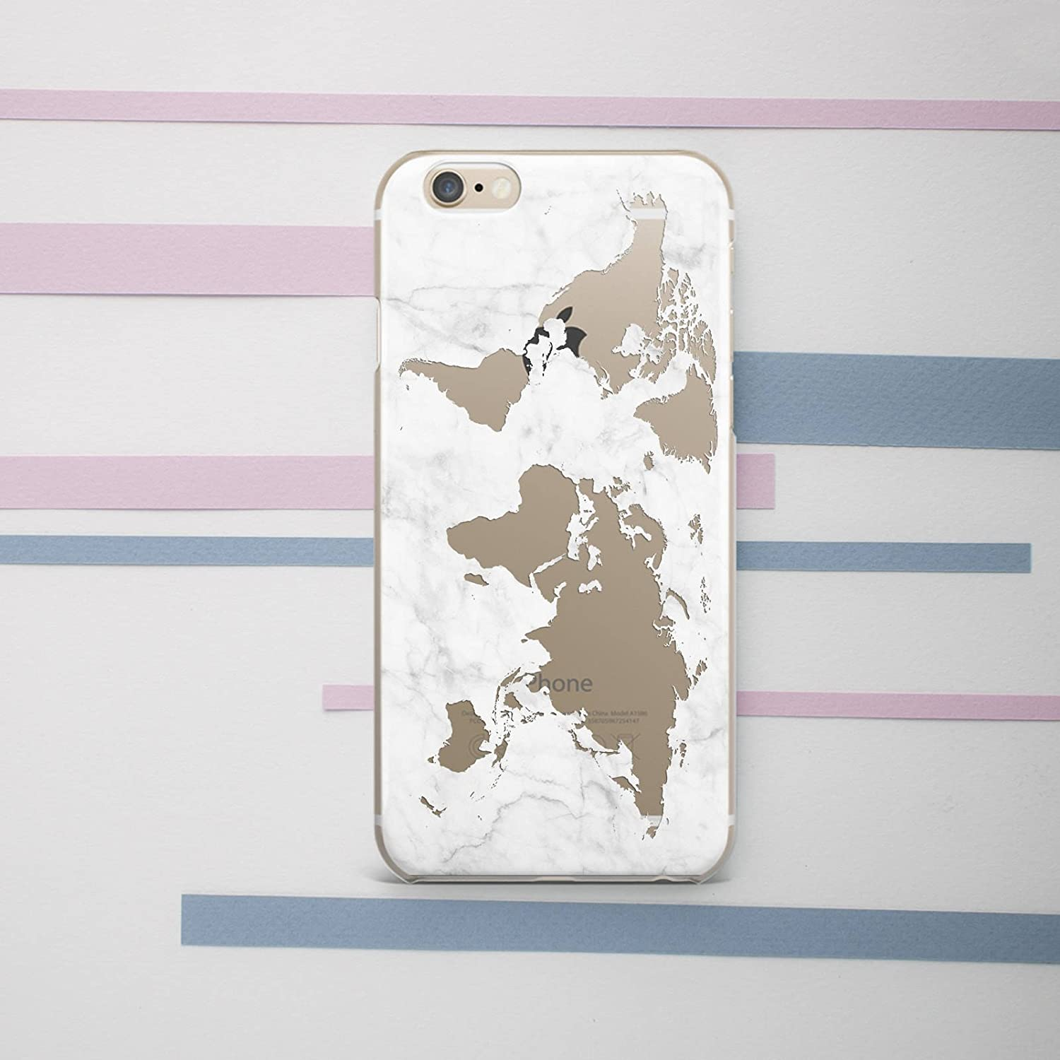 Amazon.com: bagparadise mapa del mundo mármol iPhone funda ...