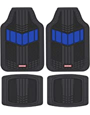 Motor Trend MTX101 Blue DualFlex Two-Tone Rubber Car Floor Mats for Automotive SUV Van Truck Liners - Channel Drainer All Weather Protection