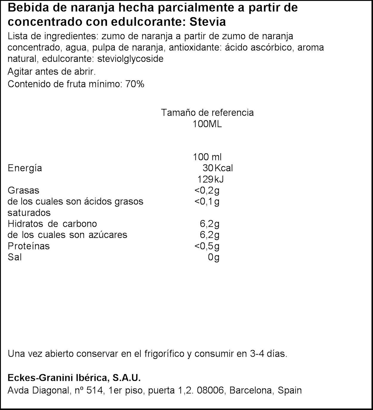 Granini Light Zumo de Naranja con Edulcorante de Extracto de la Hoja de Stevia- 1 l: Amazon.es: Amazon Pantry