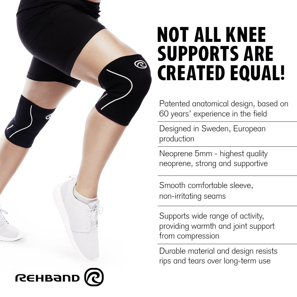 Rehband Rx Knee Support 5mm Medium Cross - Black- Expand Your Movement
