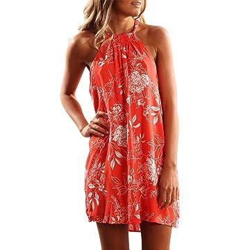 b12b850a20b Asvivid Women s Summer Halter Neck Floral Print Sleeveless Casual Mini Dress