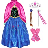 AmzBarley Princess Party Outfits for Girls Halloween Cosplay Role Play Dress Up Long Seelve Clothes with Cape