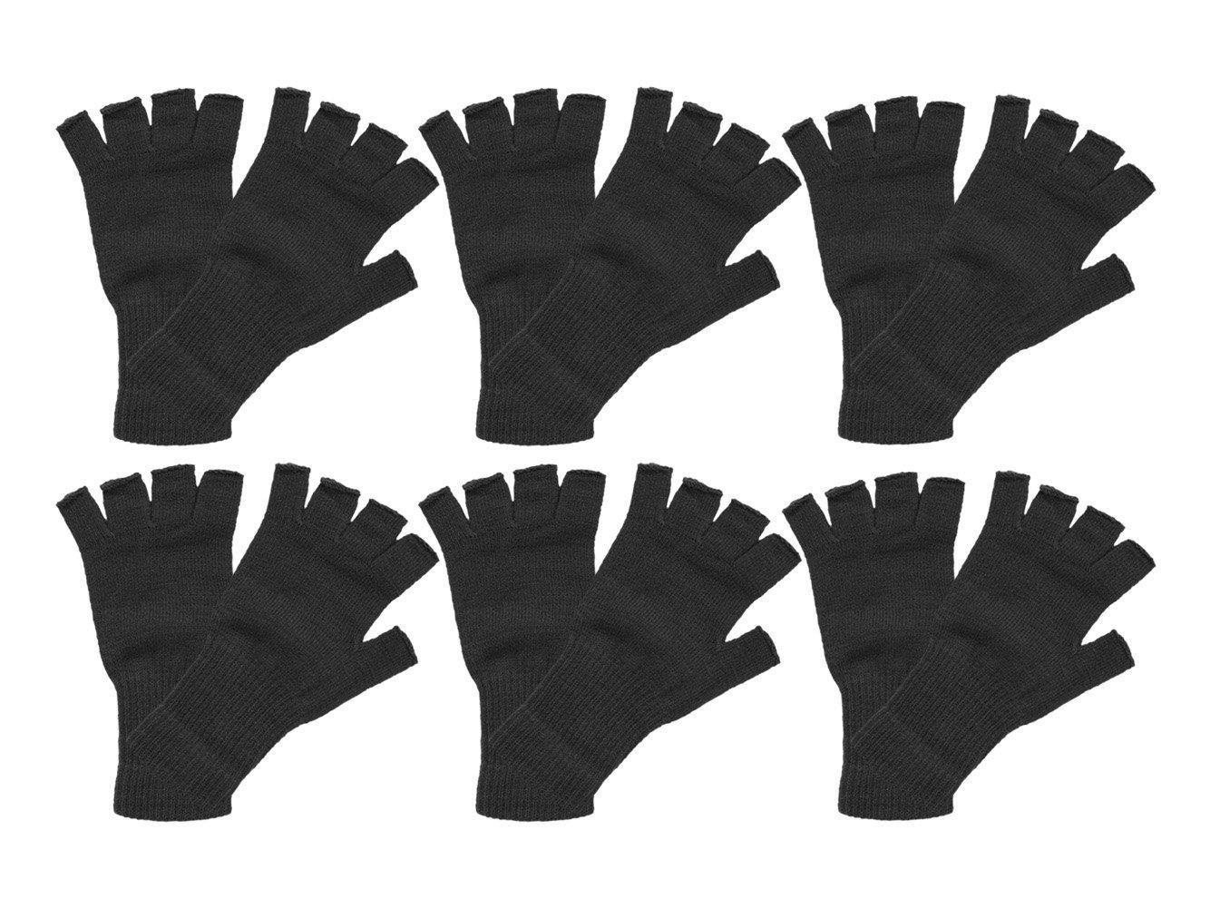 Fingerless Knit Gloves 6 pieces, Black