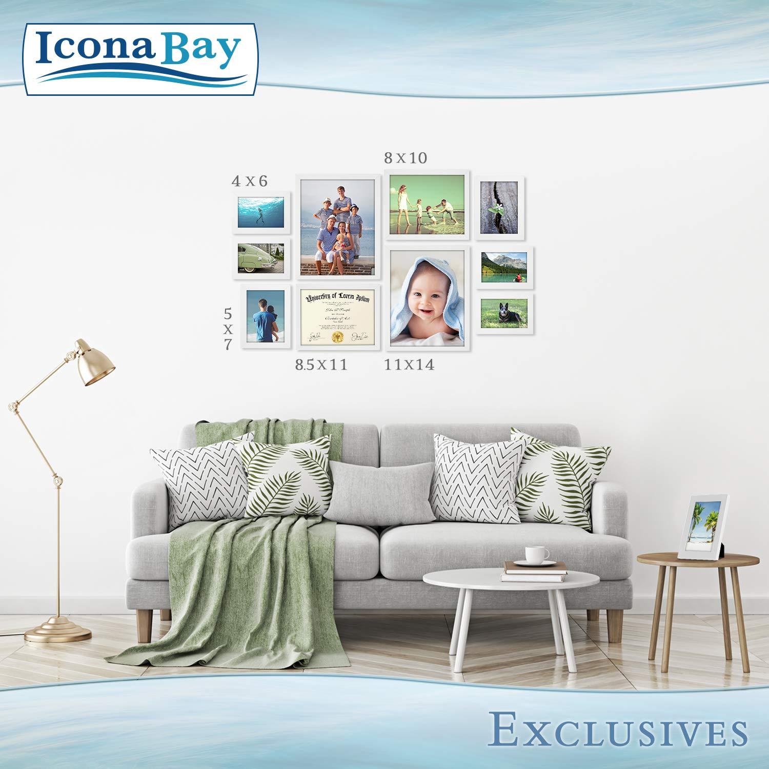 Icona Bay 8x10 Picture Frame (6 Pack, White), White Sturdy Wood Composite Photo Frame 8 x 10, Wall or Table Mount, Set of 6 Exclusives Collection by Icona Bay (Image #7)