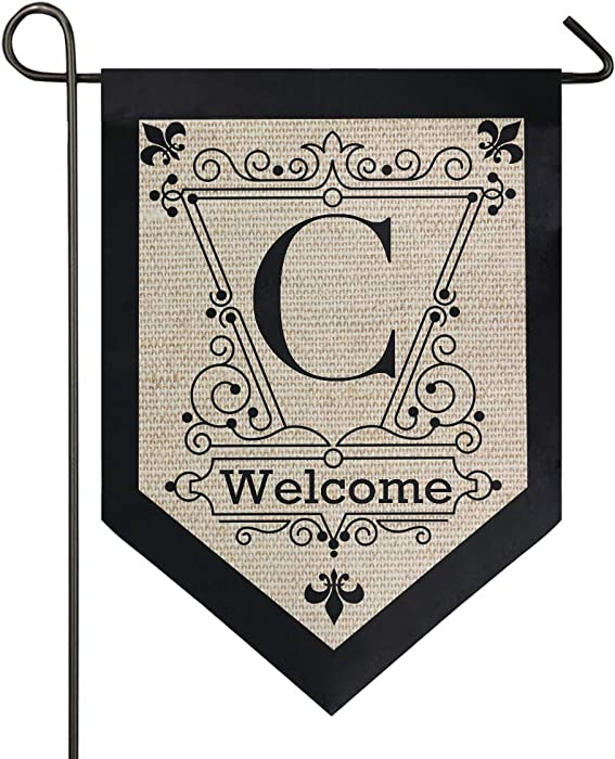 Oarencol Vintage Monogram Letter C Welcome Fleur De Lis Flower Garden Flag Double Sided Home Yard Decor Banner Outdoor 12.5 x 18 Inch
