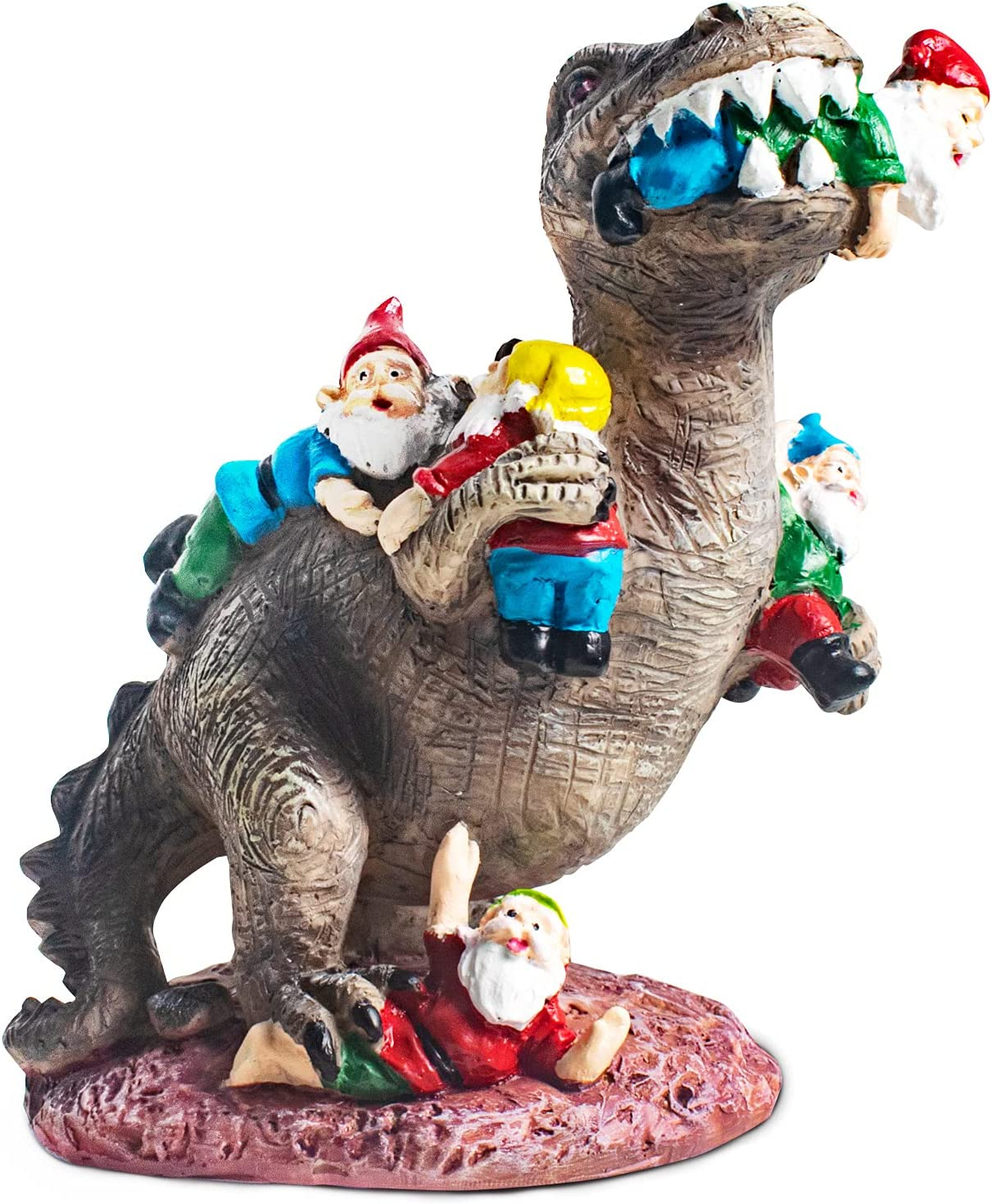 Garden Statue Dinosaur Eating Gnomes Outdoor Art Decor, Resin Dinosaur & Gnomes Figurines Sculpture Garden Fairy Miniature Decorative Ornaments