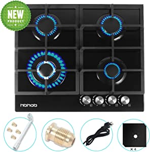 "24"" inches Gas Cooktop Gas Stove Tempered Glass Built in 4 Burners Gas Stoves Cooktop Stove Burner Cast Iron Grate Stove-Top LPG/NG Dual Fuel Thermocouple Protection and Easy to Clean-Black"