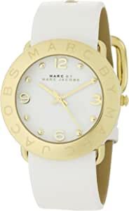 Marc by Marc Jacobs MBM1150 Womens Amy White Dial Gold Tone Steel White Leather Strap Watch