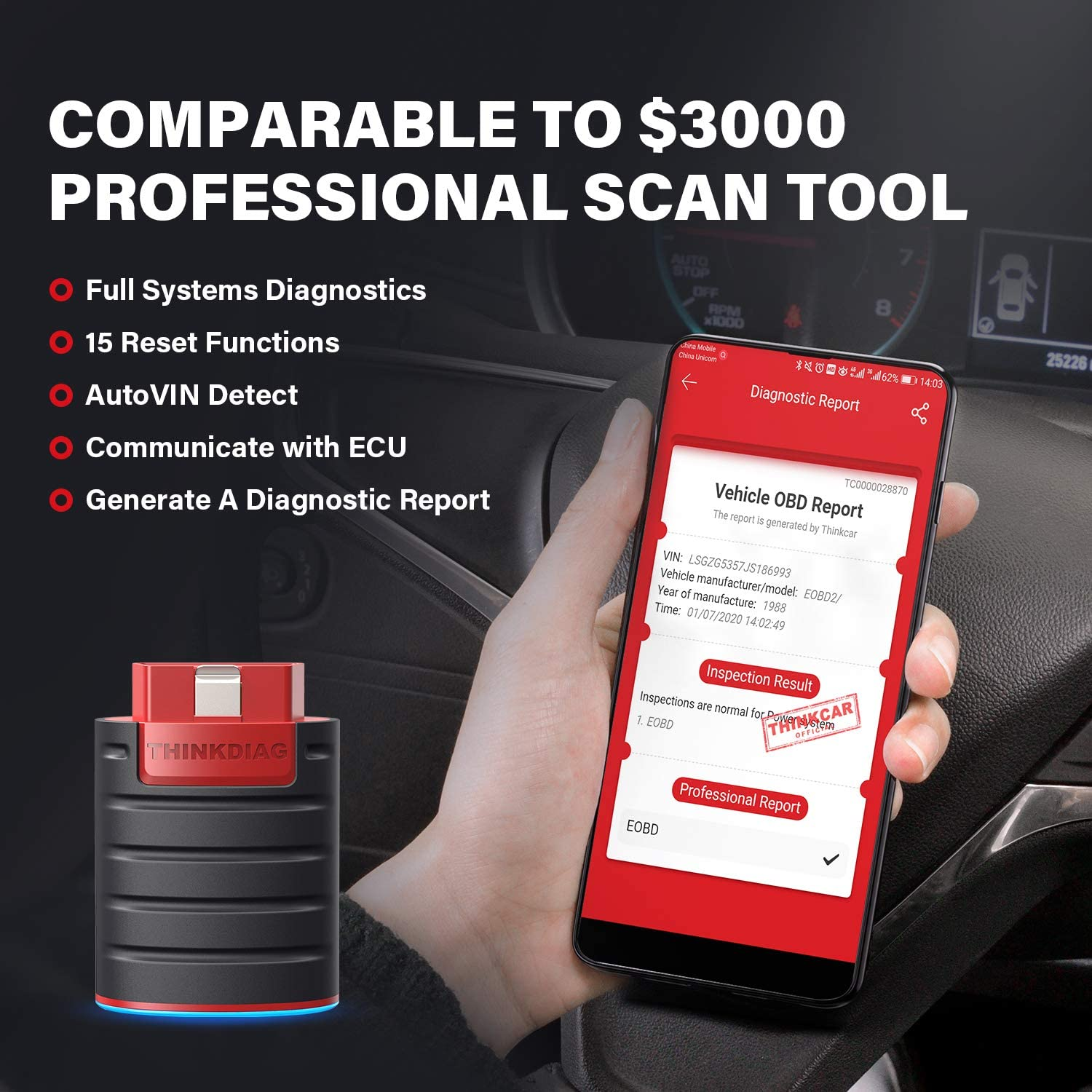 ThinkDiag Bidirectional Bluetooth OBD2 Scanner Diagnostic Scan Tool Code Reader Active Test Auto VIN for iPhone /& Android ECU Coding 16 Service Functions TPMS Activate Tool All Systems Diagnoses