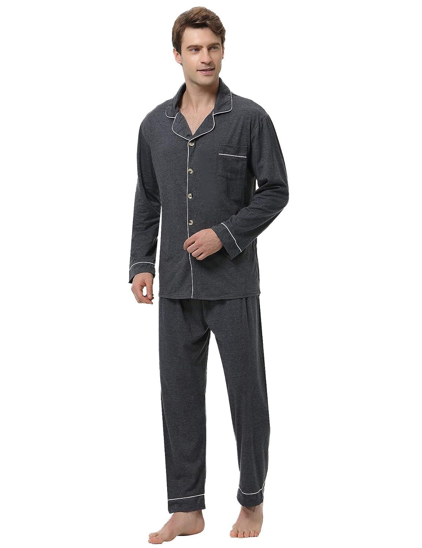 Aibrou Pijamas Hombre Invierno Algodón 2 Piezas Calentito Pijamas Hombre Otoño Algodón, Suave, Cómodo y Agradable: Amazon.es: Ropa y accesorios