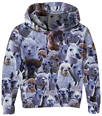 7682539678659 UNICOMIDEA Teenager Sweatshirt Boys 3-4T Hooded Sweater Funny Alpaca  Expression Pattern Cool Pullover Long