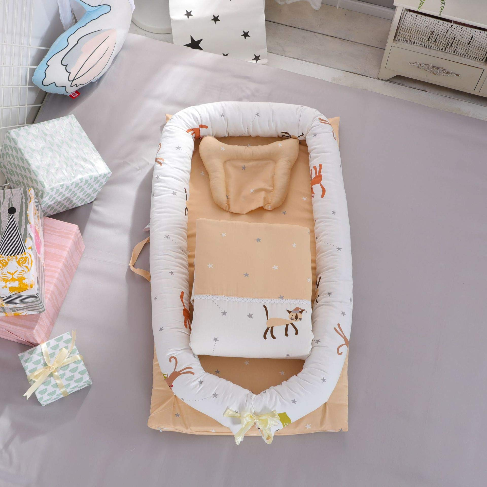 Baby Bassinet for Bed Portable Baby Lounger for Newborn,100% Cotton Newborn Portable Crib,Breathable and Hypoallergenic Sleep Nest Newborn Lounger Pillow for Bedroom/Travel Cat by JHion