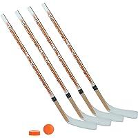 Unbekannt Streethockeyschläger-Set Kids 8: 4 Vancouver-Schläger 115cm gerade Kelle & Ball und Puck orange