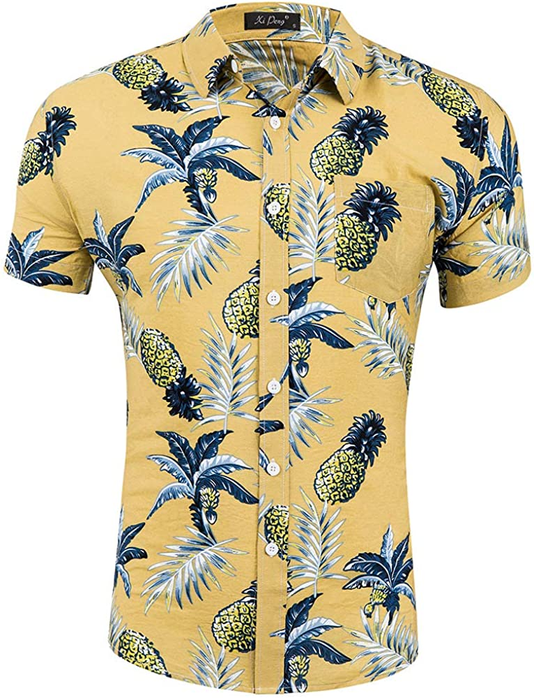 KAYLEY Camisa Hawaiana para Hombre con Estampado de Piñas y Botones de Corte Regular, Camisa de Playa Aloha: Amazon.es: Ropa y accesorios