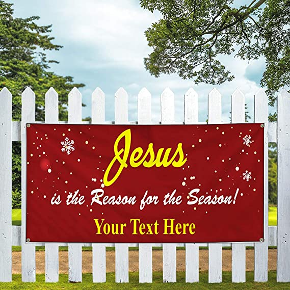 Jesus is The Reason for The Season 5 Ft X 10 Ft Banner Sign W//10 Grommets