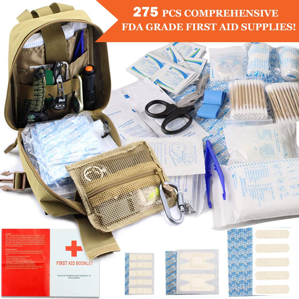 Monoki First Aid Survival Kit, 302Pcs Tactical Molle EMT IFAK Pouch Outdoor Gear EDC Emergency Survival Kits First Aid Kit Trauma Bag for Hiking Camping Hunting Car Travel or Adventures(Mud Yellow) by Monoki (Image #3)