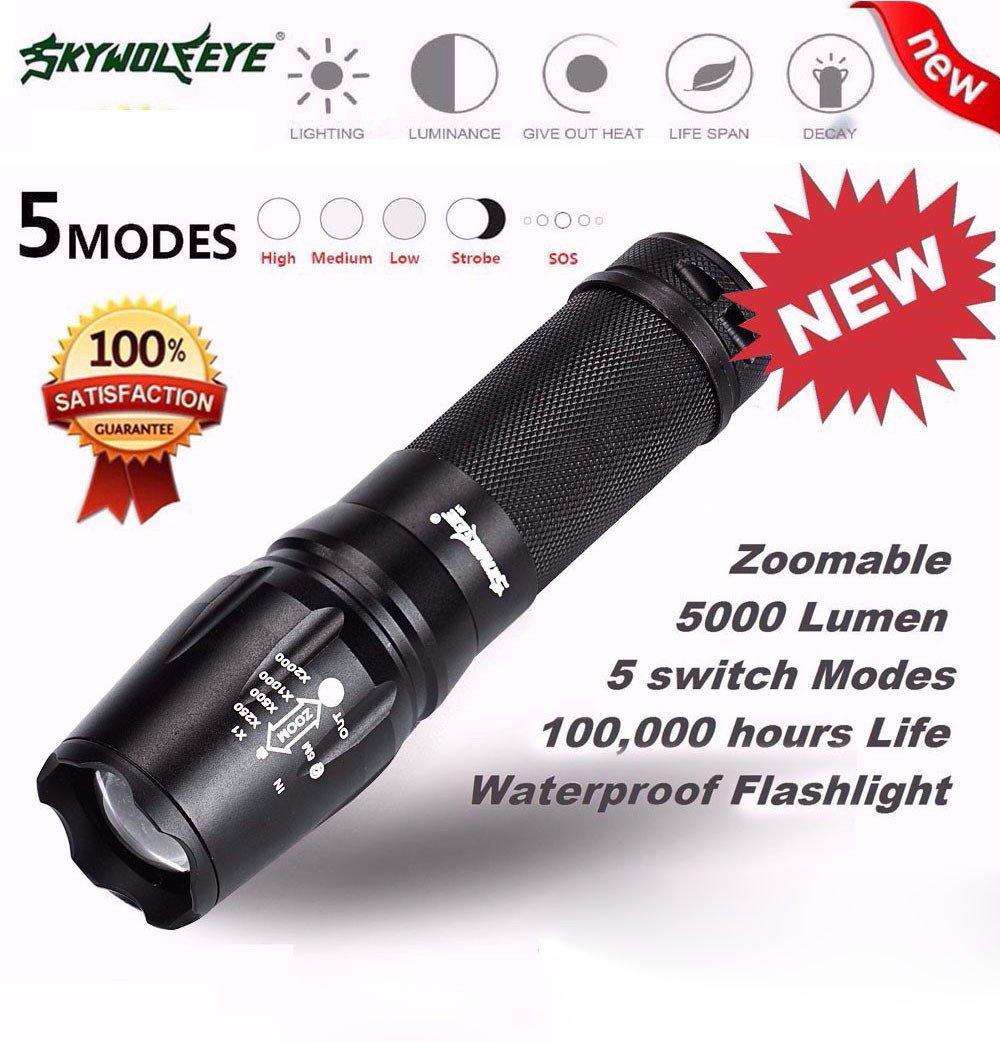 hkfv 5000Lumen 5modes T6Zoo Mabel 18650lampe de poche LED Lampe Lumière G700X800Sirius Auge A conduit lampe de poche SKYWOLFEYE Flash Light