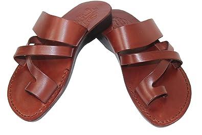 fb358acc6a54 Sandales En Cuir Marron Pour Hommes Et Femmes Biblique Chaussures De Jésus  36-46 (