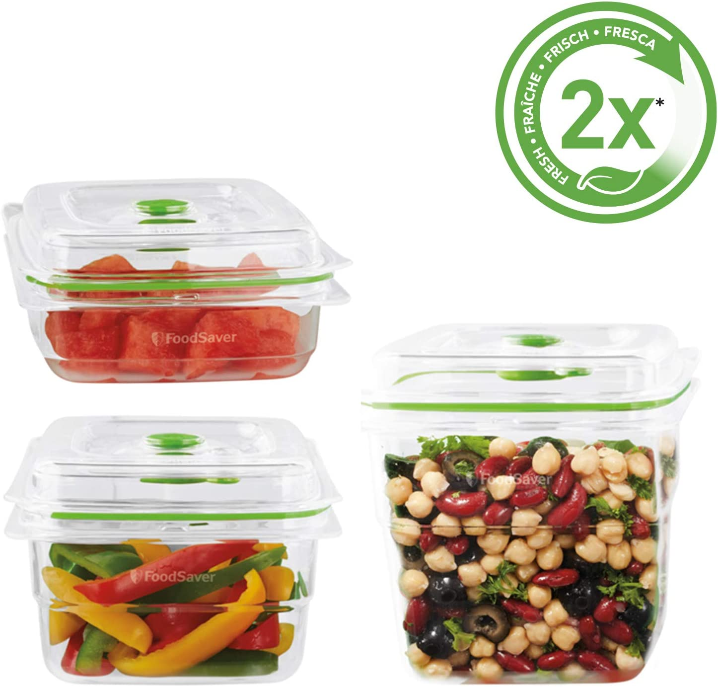 Foodsaver Fresh Food Vacuum Storage Containers, 700ml, 1.2L and 1.8L, BPA-Free, Stackable, 3-Piece Combo Pack, FFC020X