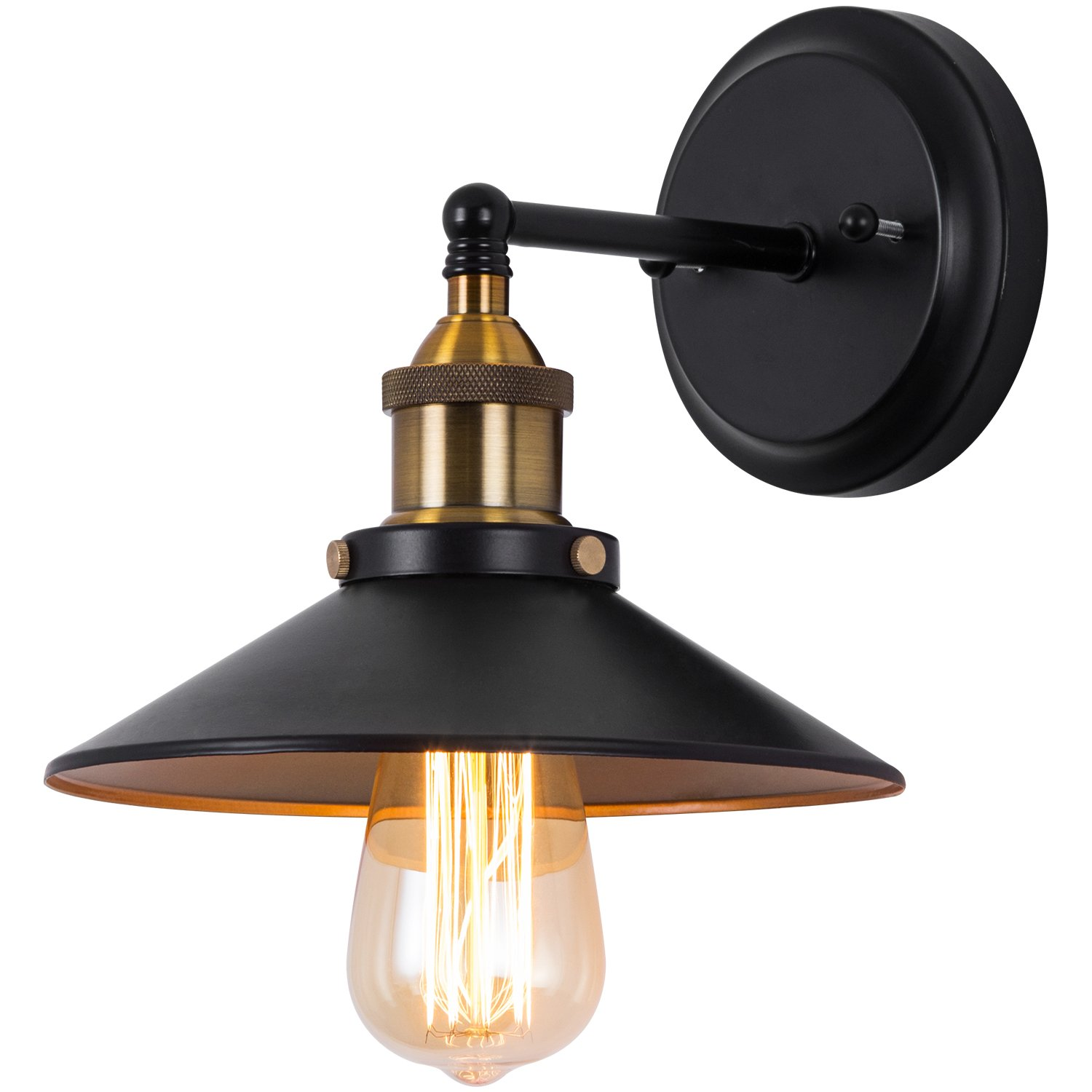 Industrial Wall Sconce Light, Vintage Edison Wall Lamp Antique Style Loft Retro Simplicity Light For Stairway, Hallway, Bar, Club, Aged Matt Black by DONGLAIMEI