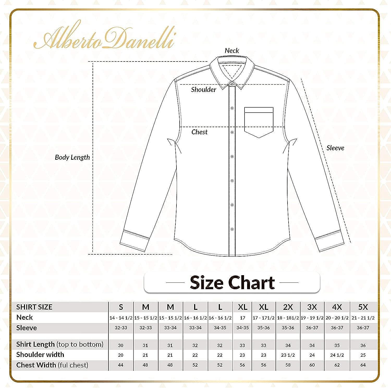 Alberto Danelli Men's Printed Shirt, Long Sleeve Button-Down, Microfiber Dress Shirt, Regular Fit at  Men's Clothing store