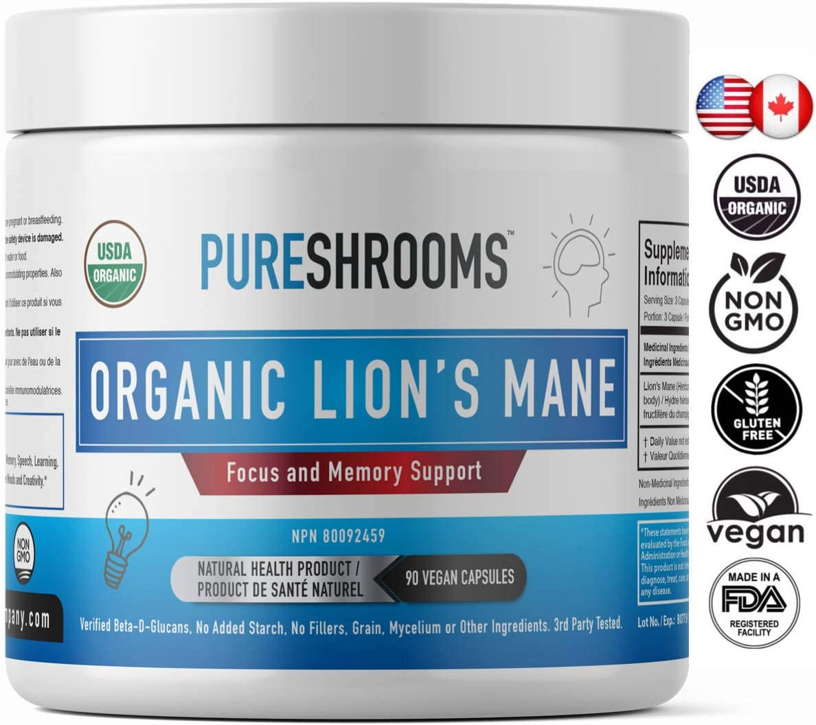 Pure Shrooms Organic Lion s Mane Mushrooms – Strongest 1600mg Per Serving, 90 Capsules – Memory, Focus Nerve Health. Beta-D-Glucans 30 , Organic, No Fillers, No Preservatives No Additives