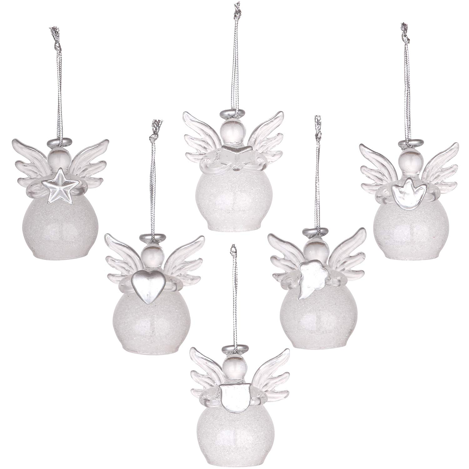 Sea Team Mini Sized Clear Glass Angel Ornaments for Christmas Tree Decorations, 50mm/1.97-inch, Set of 12 (Silver) ST18-ANGEL12B-SILVER