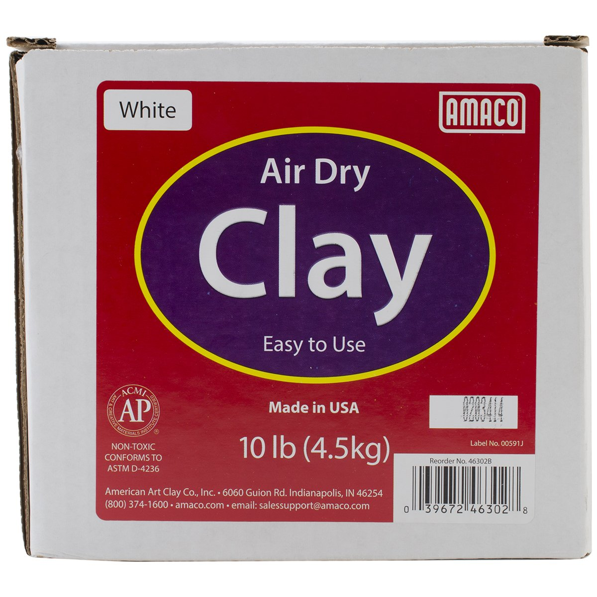 AMACO 4630-2B Air Dry Modeling Clay, 10-Pound, White by AMACO