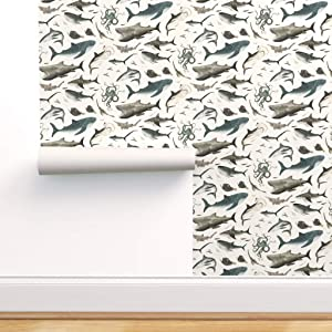 Removable Water-Activated Wallpaper - Sharks and Sea Creatures On White Shark Octopus Fish Ocean Great Whale Life by Katherine Quinn - 24in x 72in Smooth Textured Water-Activated Wallpaper Roll