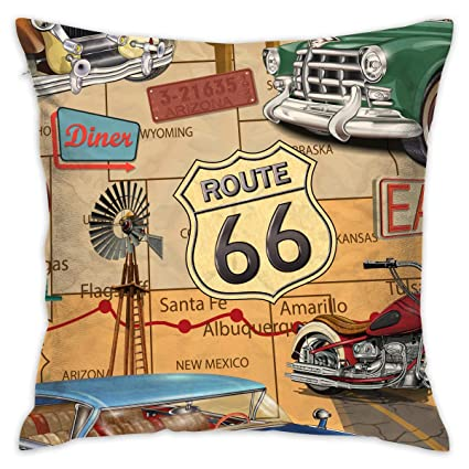 Amazon.com: Feim-AO Vintage Route 6 Decorative Throw Pillow ...