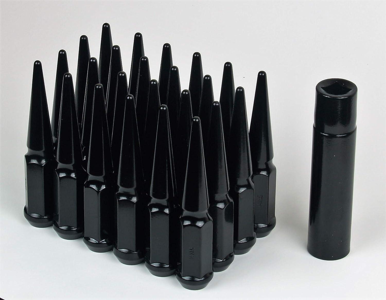 "24 Pcs 12X1.25 Black Spike Lug Nuts With Key |4.5 |1 Piece Solid Metal|3/4"" Hex|Special Key"