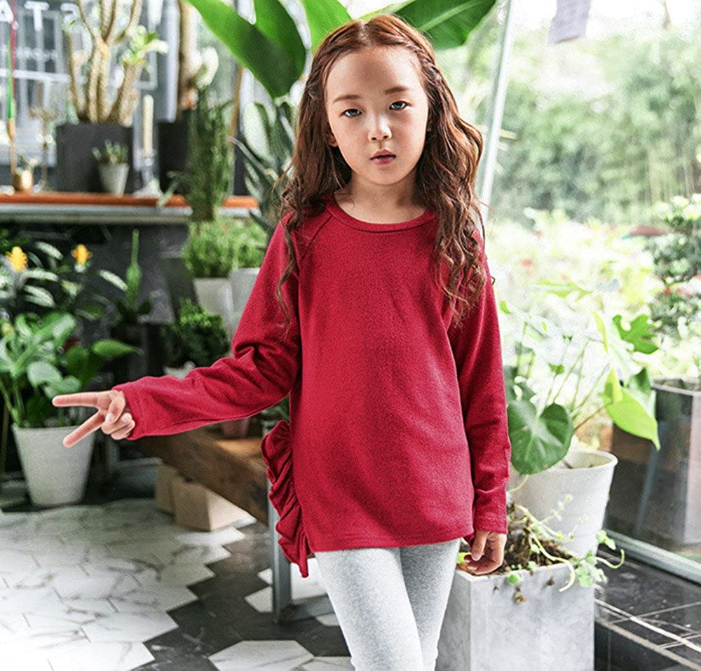 KONFA Teen Baby Girls Ruffles Knitting T-Shirt Tops,For 3-8 Years Old,Fashion Long Sleeve Solid Color Blouse