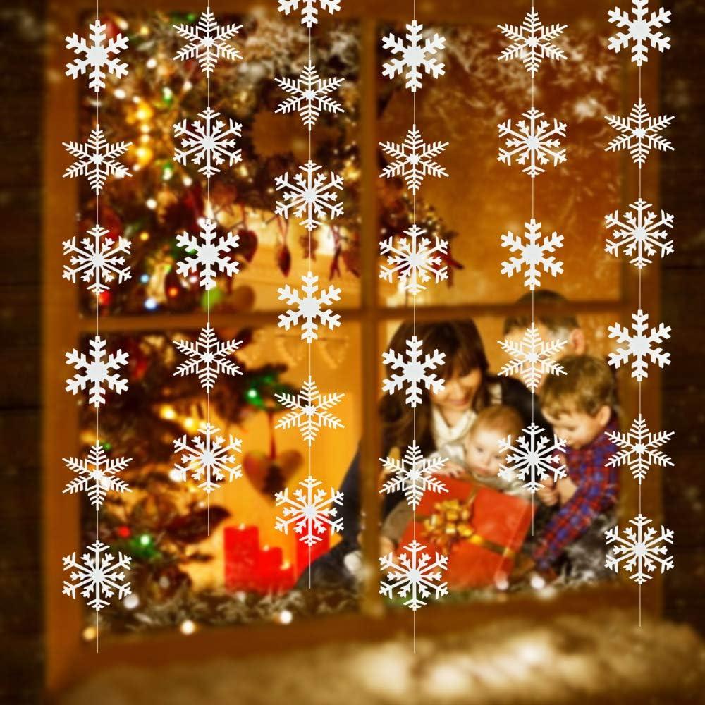 PERFETSELL 12 Pcs Decoraciones de Copos de Nieve Guirnalda Copo de Nieve Colgantes Navideños Adornos de Copo de Nieve Decoracion Navideña con Copos de Nieve Navidad para Techo Puerta Ventanas Pared