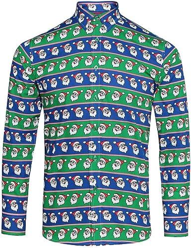 CHRISTMASSHOP Christmas Shop - Camisa de Manga Larga con Estampado navideño para Hombre: Amazon.es: Ropa y accesorios