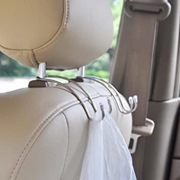 2 pack Black GCA Car Seat Holder Coat Clothes Hook Back Purse Bag Hanging Hanger Organizer
