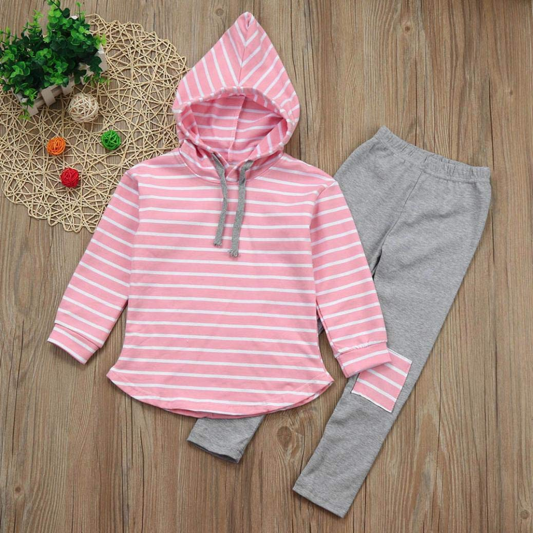 2pcs Toddler Baby Boy Girl Clothes Set Stripe Hoodie Tops+Patch Pants Outfits (Pink, 7T) by SCSAlgin (Image #2)