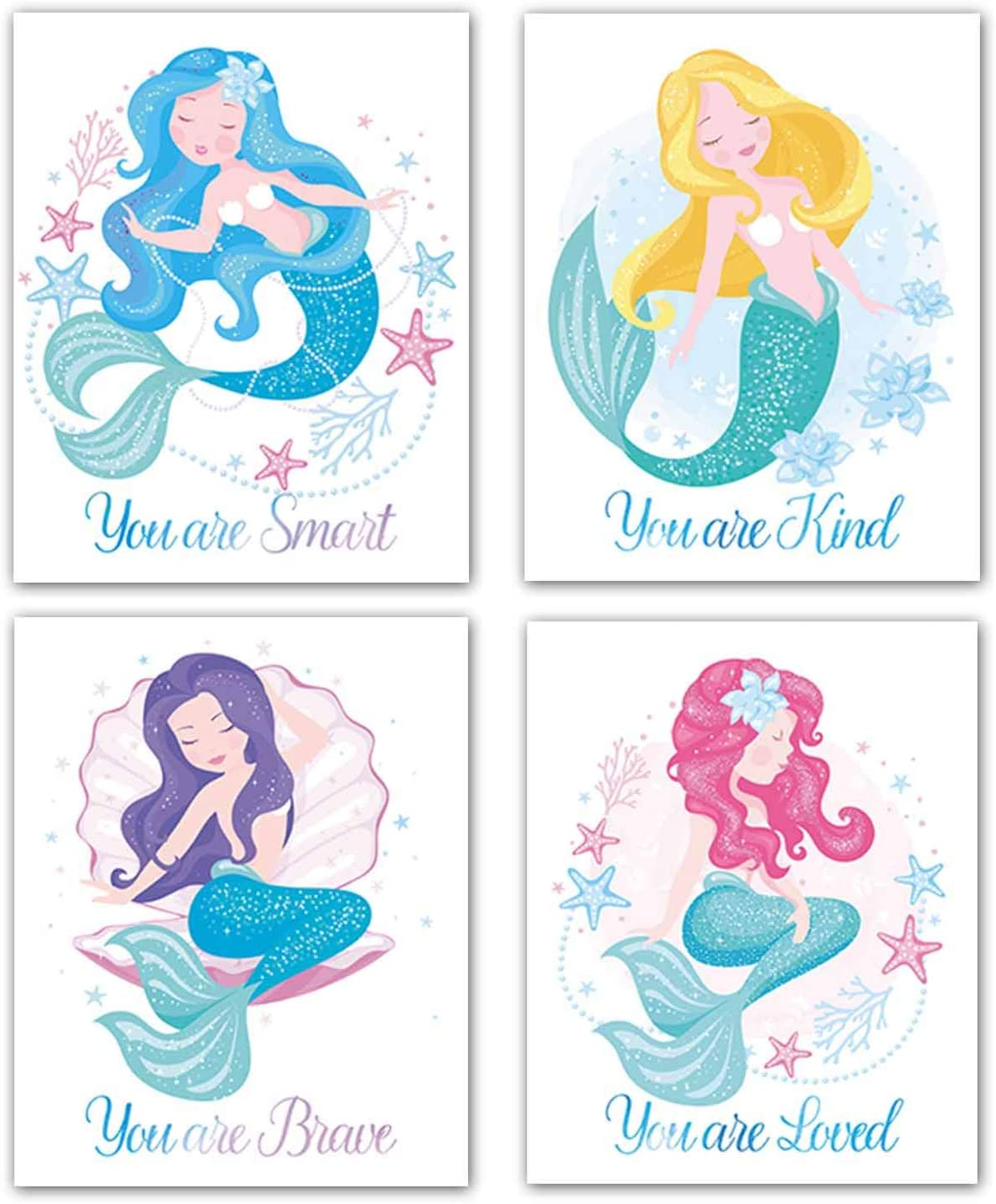 """VOUORON Unframed Watercolor Nursery Mermaid Art Wall Decor Posters Set of 4 Inspirational Ocean Mermaid Picture Art Print for Girls Bedroom Bathroom Modern Home Wall Decor (8""""X10"""" Canvas Picture)"""
