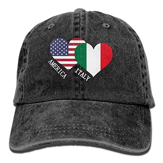 Funny Denim Italian American Flag 1 Men Women Washed Denim Baseball ... b92f046613d5