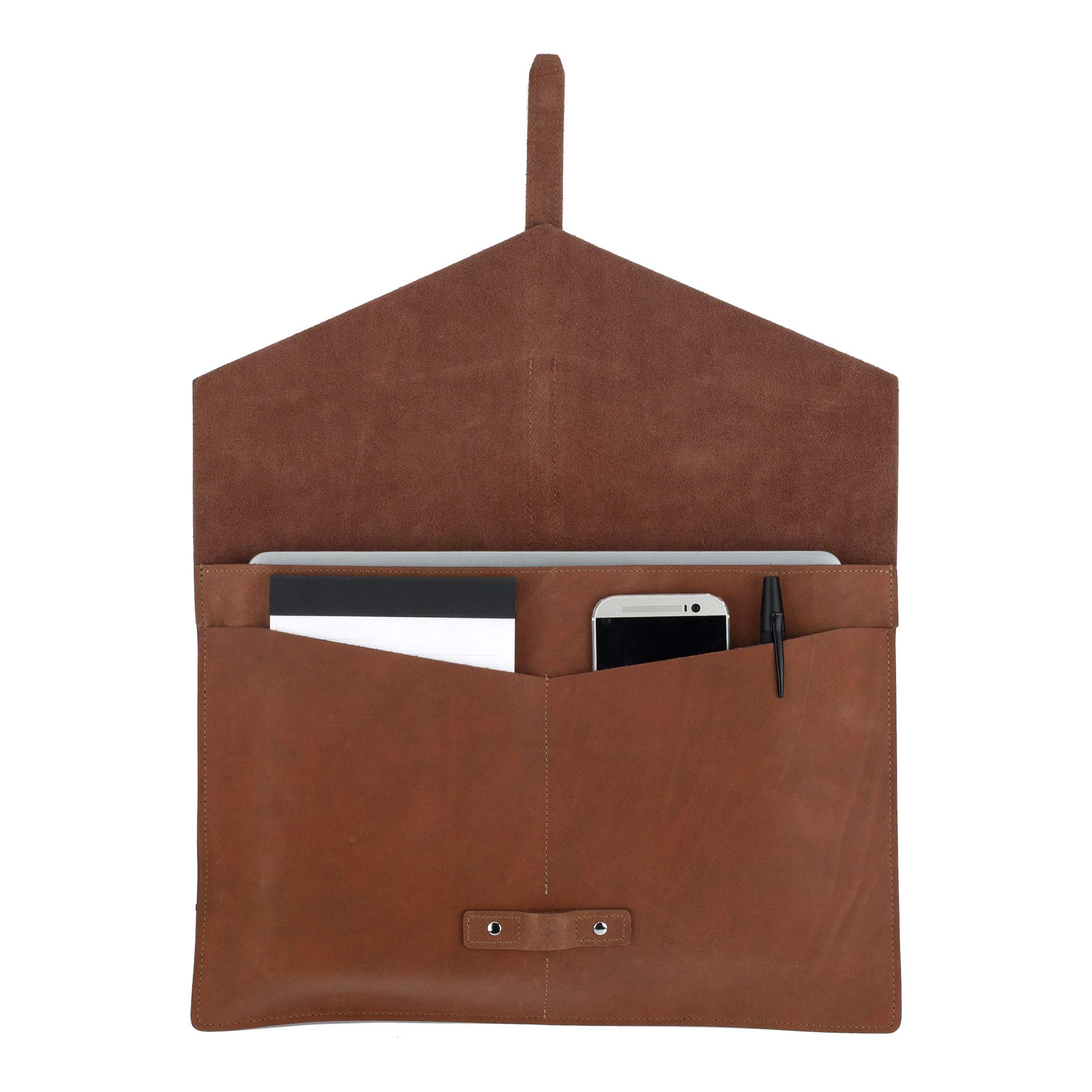 SLATE COLLECTION Belltown Small Laptop Sleeve, Full-Grain Leather (Cognac, fits 13'' Laptop) by SLATE COLLECTION (Image #2)