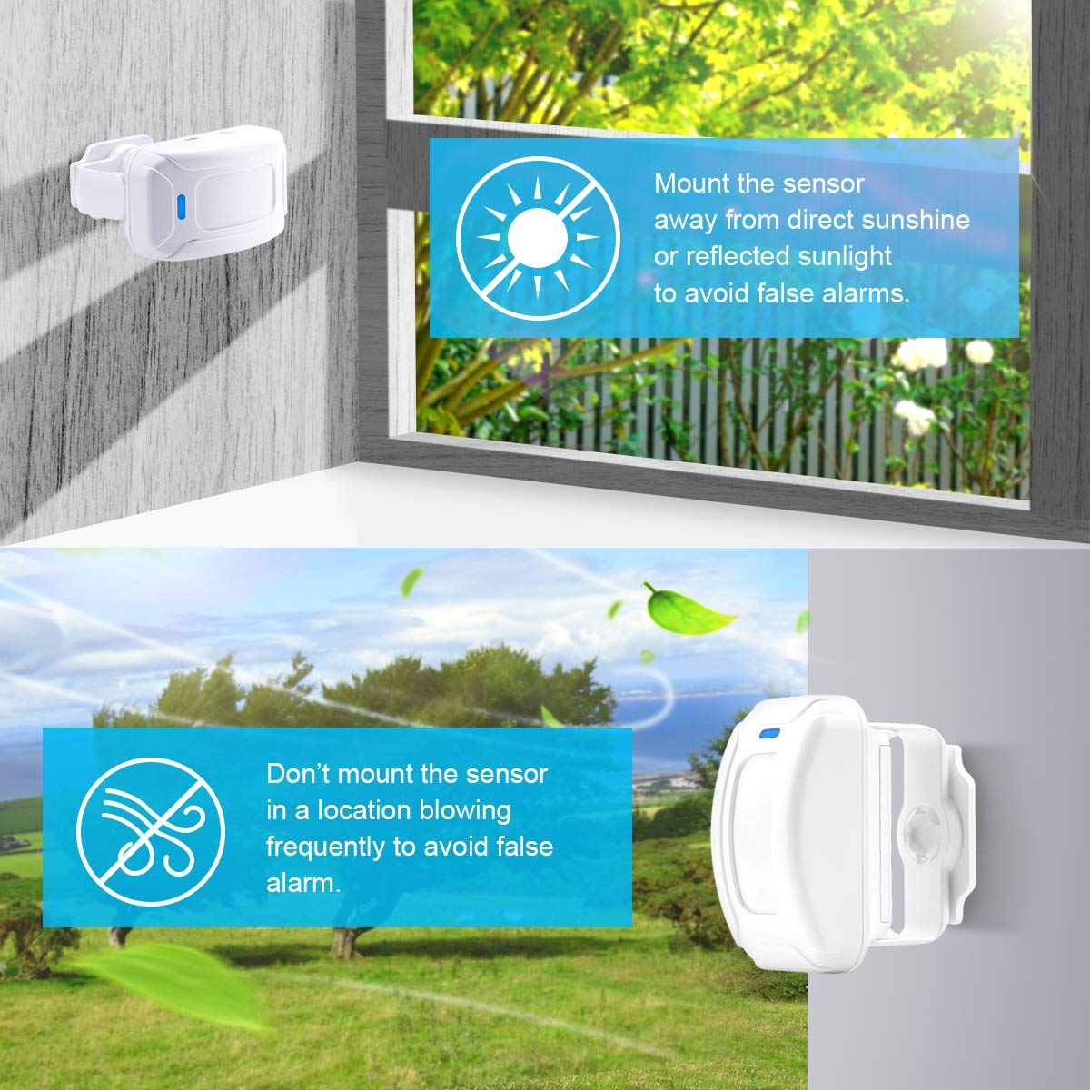 Govee Home Security Driveway Alarmwireless Motion Shadow Sensor Alarm Detector 1 Receiver 2 Detectorlong Detect Range