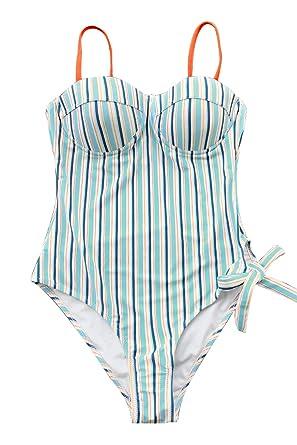 758098928c CUPSHE Women s Blue and Orange Stripe Leg Tie One-Piece Swimsuit at ...