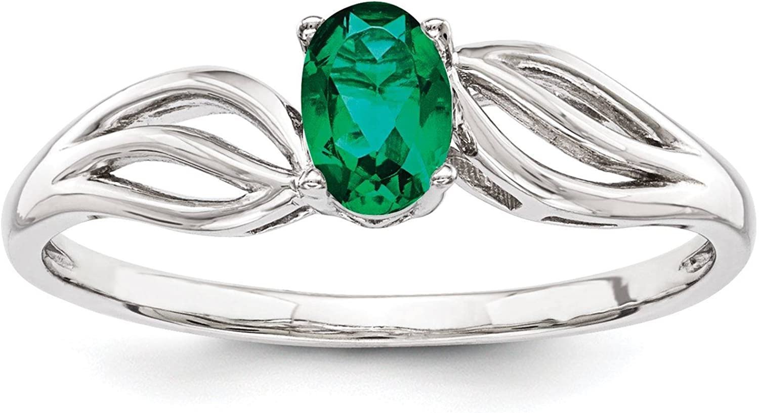 925 Sterling Silver Rhodium-finish Created-Emerald May Stone Ring Size 5-10