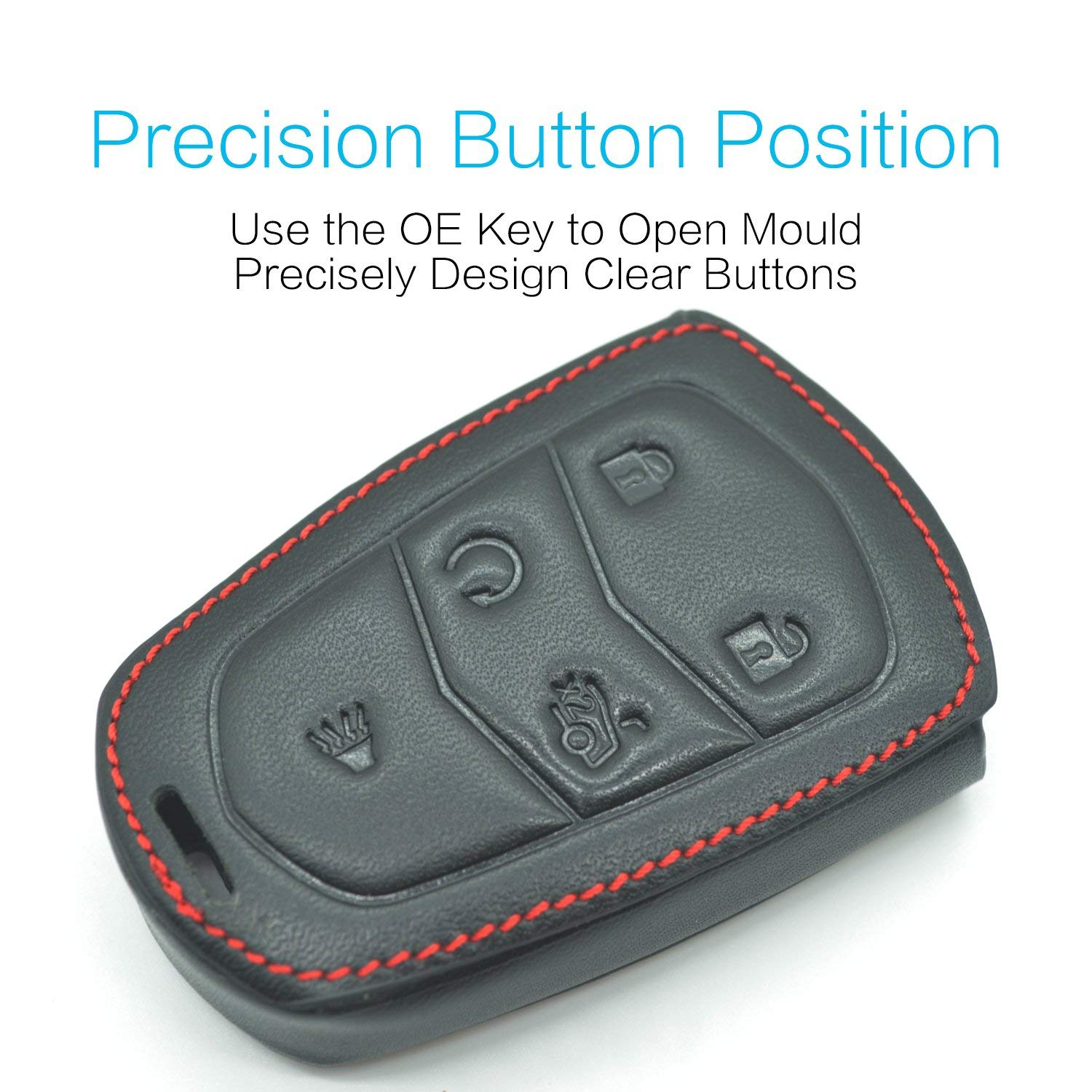 Genuine Leather 2000-2018 Cadillac Escalade Cts SRX Xt5 ATS STS CT6 Smart Prox Remote Key Fob Cover Case Holder Only for 5 and 4 3 Buttons
