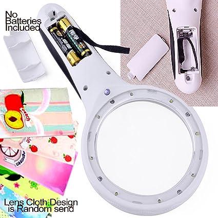 El lobo luna® Handheld lectura lupa luz peso 8 luz LED iluminado lente joyería lupa