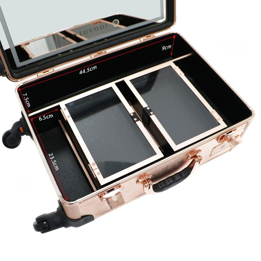 LUVODI Maletín Maquillaje Profesional Estuche de Cosméticos con ruedas Multiuso Maleta para Maquillaje con LED espejo: Amazon.es: Belleza