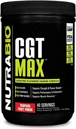 NutraBio CGT-MAX Fruit Punch – Creatine, Glutamine, and Taurine Powder