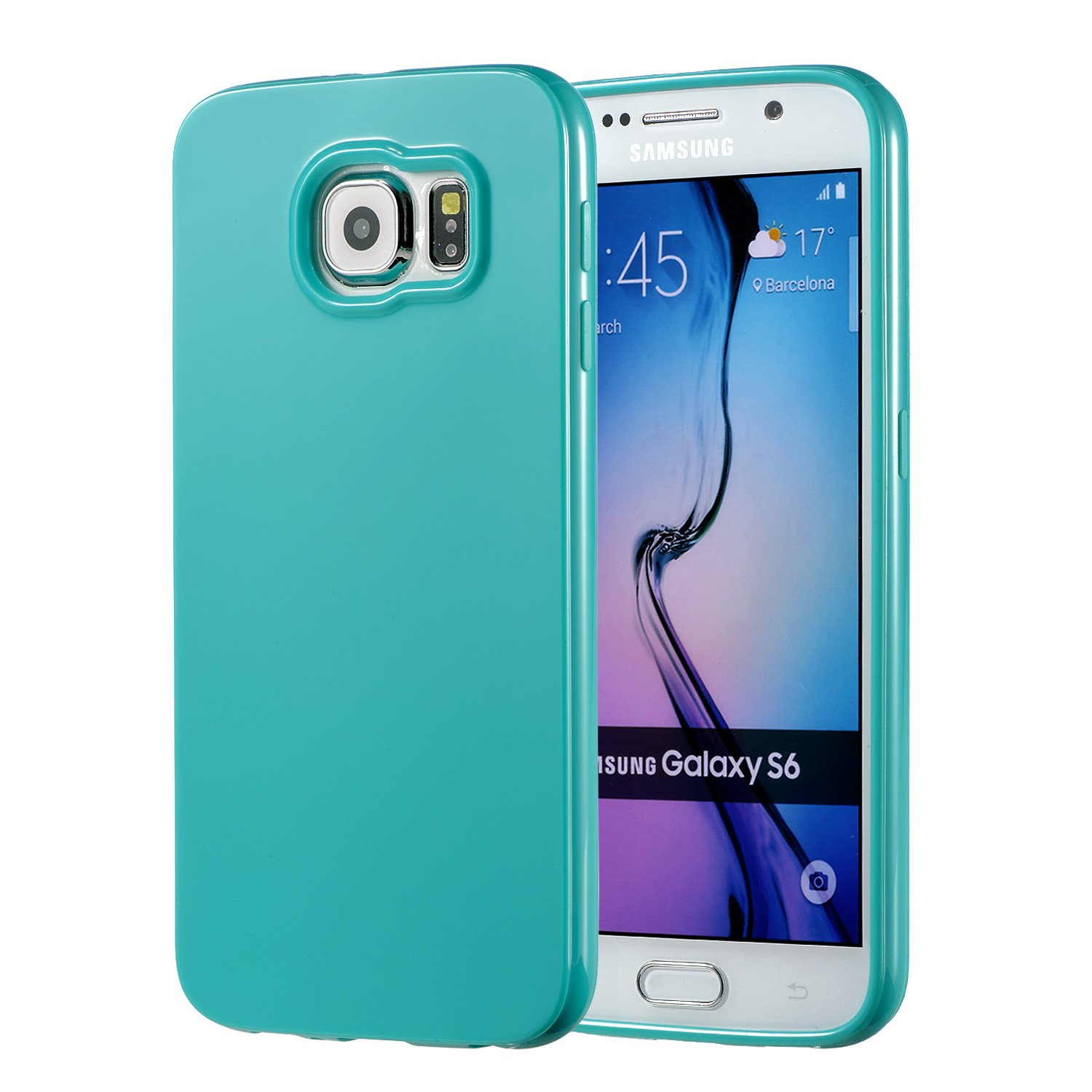 new product 28462 27a05 Galaxy S6 Turquoise Case, technext020 Galaxy S6 Case Silicone Protective  Back Cover Slim Fit Samsung Galaxy S6 Bumper