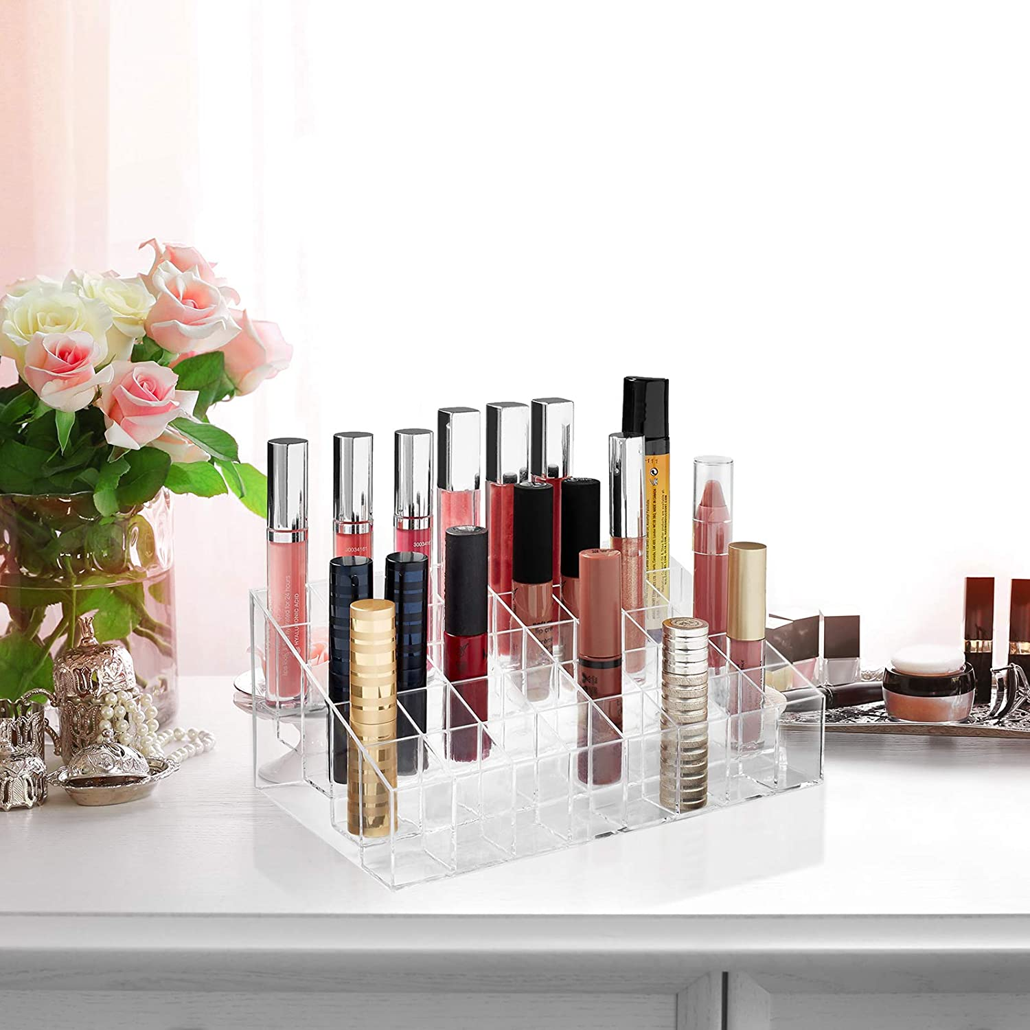 Casafield 40 Slot Acrylic Lipstick & Makeup Organizer - Cosmetic Display Case - Clear: Home & Kitchen