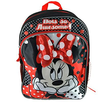 "Kids Minnie Mouse Backpack 14"" Back Pack with Minnie Mouse Plush Bow: Toys & Games"